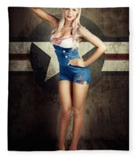 American Fashion Model In Military Pin-up Style Fleece Blanket