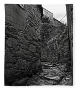 Ancient Street In Tui Bw Fleece Blanket