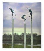 3 Angels Statue Philadelphia Fleece Blanket