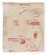 Antique Smith And Wesson Patent For A Metallic Cartridge 1860 Fleece Blanket
