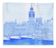 Arch Bridge Across A River, Westminster Fleece Blanket