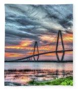Arthur Ravenel Bridge Stormy Skies Fleece Blanket