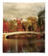 Autumn At Bow Bridge Fleece Blanket