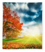 Autumn Fall Landscape In Park Fleece Blanket