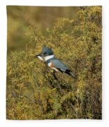 Belted Kingfisher With Fish Fleece Blanket