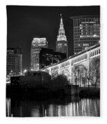 Black And White Cleveland Iconic Scene Fleece Blanket