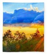 Blue Ridge Parkway Late Summer Appalachian Mountains Sunset West Fleece Blanket