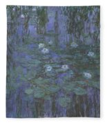 Blue Water Lilies Fleece Blanket
