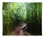 Boardwalk Passing Through Bamboo Trees Fleece Blanket