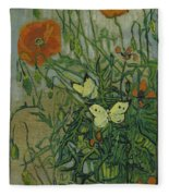 Butterflies And Poppies Fleece Blanket