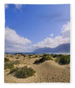 Caleta De Famara Beach On Lanzarote Fleece Blanket