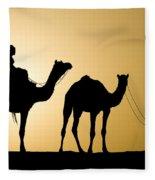 Camel Caravan, India Fleece Blanket