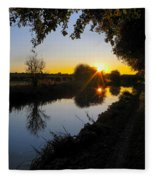 Canal Sunset Fleece Blanket