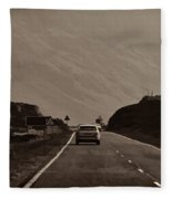 Cars And Other Vehicles On A Road In The Scottish Highlands Fleece Blanket