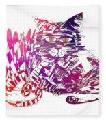 3 Cats Purple Fleece Blanket