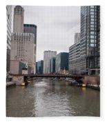 Chicago Skyline And Streets Fleece Blanket
