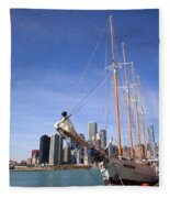 Chicago Skyline And Tall Ship Fleece Blanket