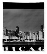 Chicago Skyline At Night In Black And White Fleece Blanket
