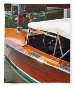Chris Craft Runabout On Geneva Fleece Blanket