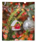Christmas Tree Ornaments And Decorations Fleece Blanket