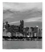 City At The Waterfront, Lake Michigan Fleece Blanket