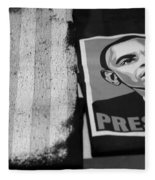 Commercialization Of The President Of The United States Of America In Black And White Fleece Blanket