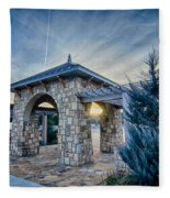 Cultured Stone Terrace Trellis Details Near Park In A City  Fleece Blanket
