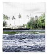 Digital Oil Painting - A Houseboat On Its Quiet Sojourn Through The Backwaters Fleece Blanket