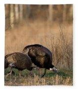Eastern Wild Turkeys Fleece Blanket