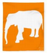 Elephant In Orange And White Fleece Blanket