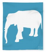 Elephant In White And Turquoise Fleece Blanket