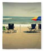 3 Empty Beach Chairs Fleece Blanket