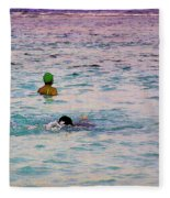 Enjoying The Water In The Coral Reef Lagoon Fleece Blanket