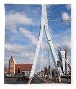 Erasmus Bridge In Rotterdam Fleece Blanket