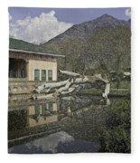 Fallen Tree In Water Pool Inside The Shalimar Garden In Srinagar Fleece Blanket
