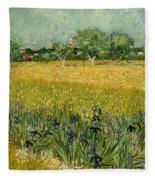 Field With Flowers Near Arles Fleece Blanket