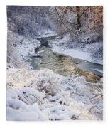 Forest Creek After Winter Storm Fleece Blanket