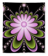 Fractal Floral Decorations Fleece Blanket