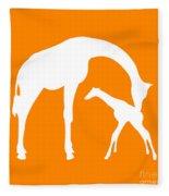 Giraffe In Orange And White Fleece Blanket