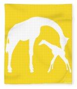 Giraffes In Golden And White Fleece Blanket