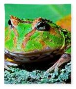 Green Fantasy Frogpacman Frog Fleece Blanket