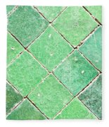 Green Tiles Fleece Blanket