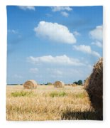 Haystacks In The Field Fleece Blanket
