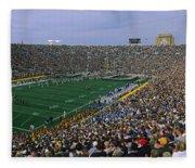 High Angle View Of A Football Stadium Fleece Blanket
