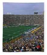 High Angle View Of A Football Stadium Fleece Blanket