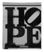 Hope In Black And White Fleece Blanket