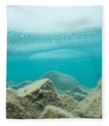 Ice Floats In Shallow Lake With Rock Reflections Fleece Blanket