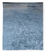 Ice On Abraham Lake Fleece Blanket