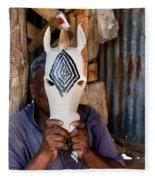 Kenya. December 10th. A Man Carving Figures In Wood. Fleece Blanket