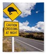 Kiwi Crossing Road Sign And Volcano Ruapehu Nz Fleece Blanket